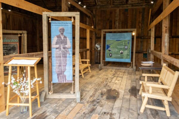 Displays inside the barn at the John Brown Farm State Historic Site in Lake Placid New York