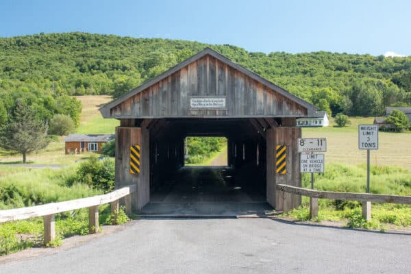 The entrance to Fitches Covered Bridge in Delaware County, New York