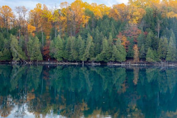 Green Lake near Syracuse, New York in the fall