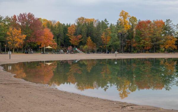Beach at Green Lakes State Park in Onondaga County NY