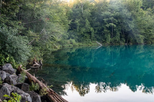 Round Lake in Green Lakes State Park near Syracuse New York