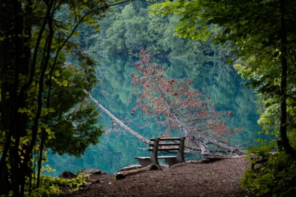 Bench on Round Lake in Green Lakes State Park in New York