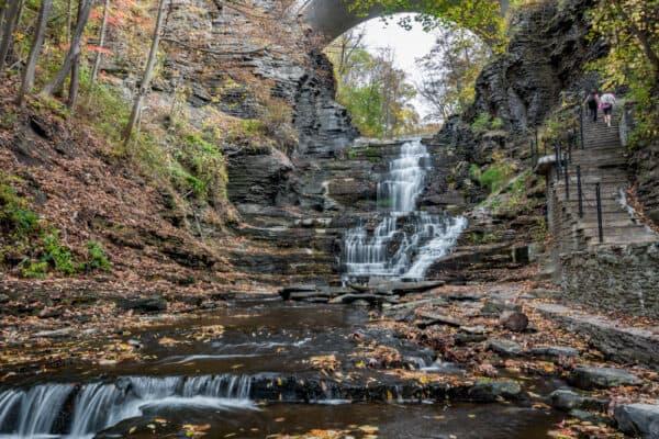 Waterfall in Cascadilla Gorge in Cornell University