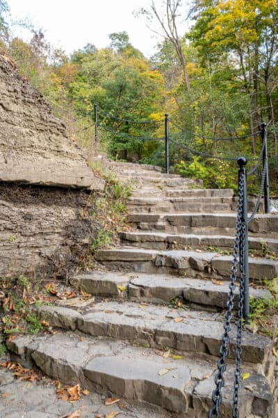 Stairs in Cascadilla Gorge on the campus of Cornell University.