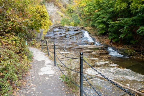 The lower part of the trail through Cascadilla Gorge in Ithaca New York.