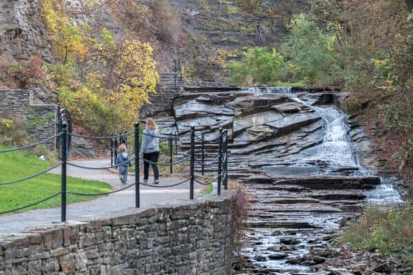 People walking on the trail at Cascadilla Gorge in Ithaca NY
