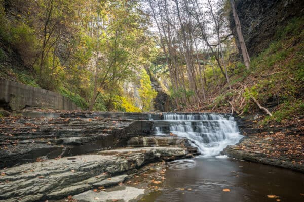 Waterfall in Cascadilla Gorge in Ithaca New York