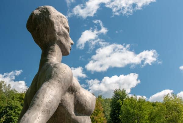Bather statue at Griffis Sculpture Park near Ellicottville NY