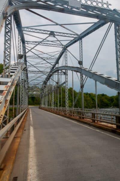 Metal bridge over Kinderhook Creek in Stuyvesant Falls NY