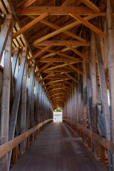 Inside Blenheim Covered Bridge in Schoharie County NY