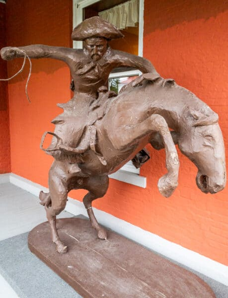 Replica sculpture outside the Frederic Remington Museum in Ogdensburg, New York