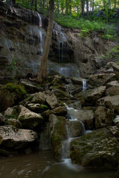 Waterfall in Three falls Woods in Onondaga County NY