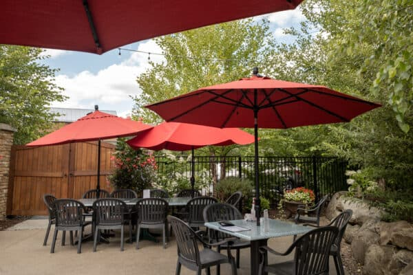 Beer garden at Ellicottville Brewing Company.