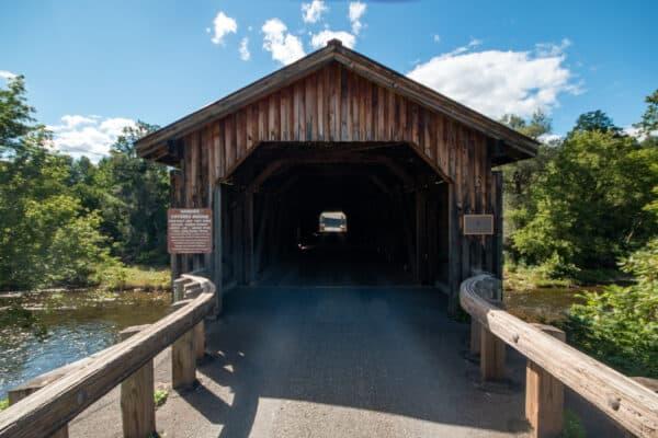 Entrance to Hamden Covered Bridge in Delaware County, NY
