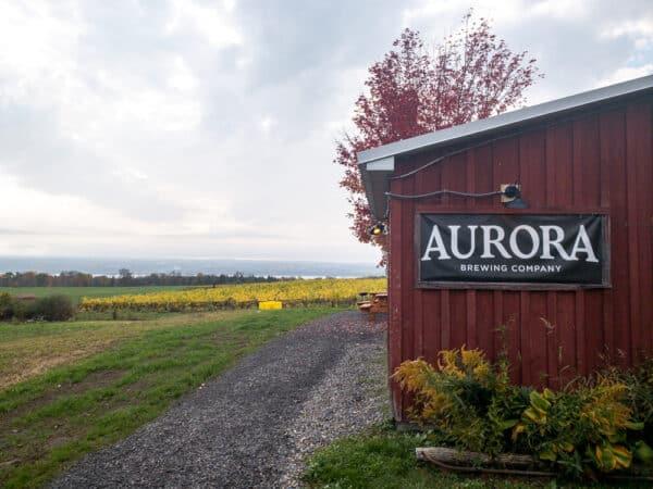Exterior of Aurora Brewing Company in Cayuga County NY