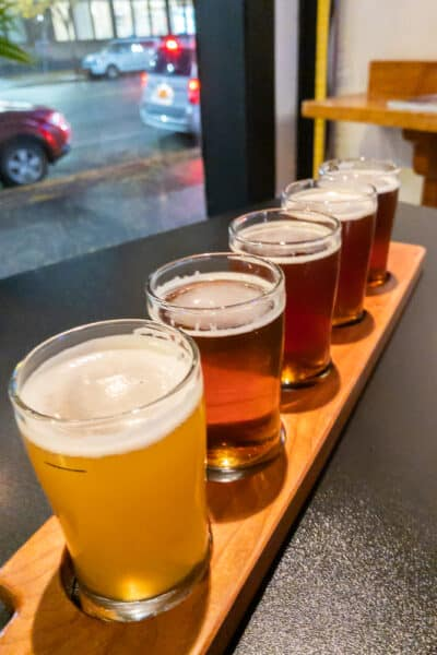 Flight of Beers from Cortland Beer Company in the Finger Lakes