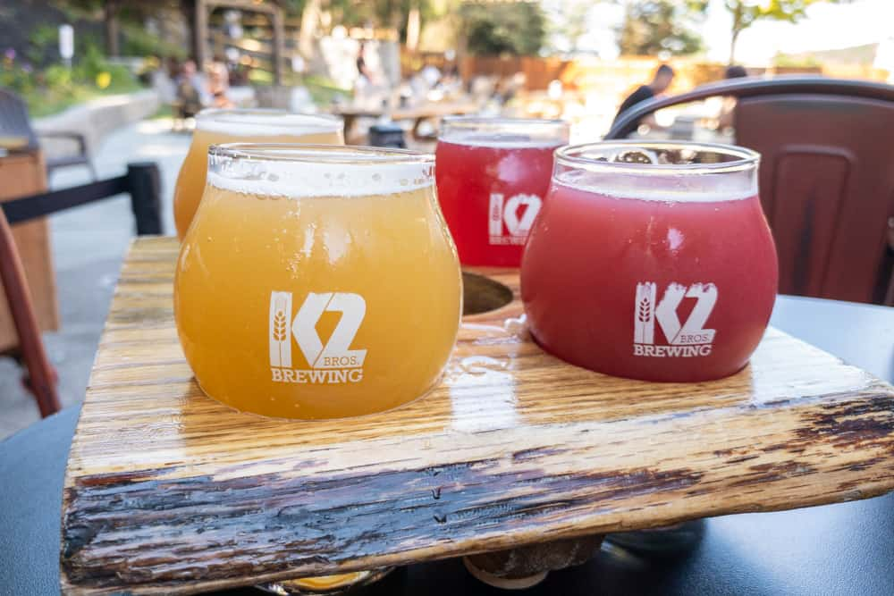 A flight of beers from K2 Brothers Brewing in Rochester, NY