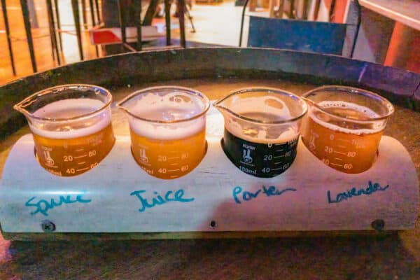 Flight of beers at Lake Drum Brewery in the Finger Lakes