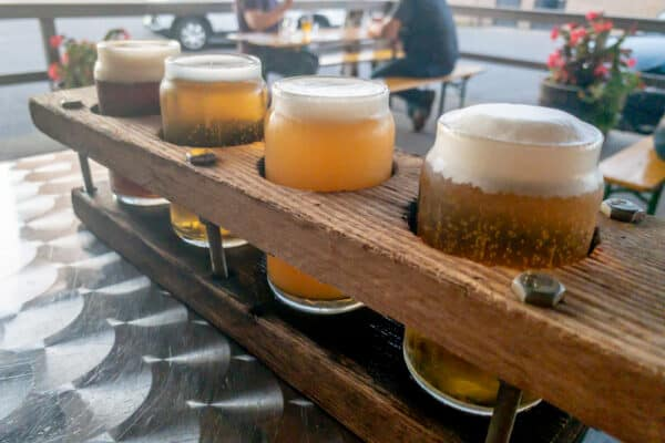 Flight of beers at Liquid State Brewing in Ithaca NY