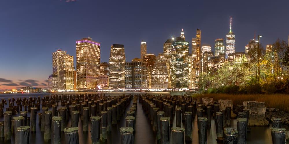Nighttime in New York City from Brooklyn NY