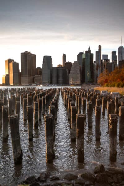 New York City at Sunset from Brooklyn Bridge Park in NYC
