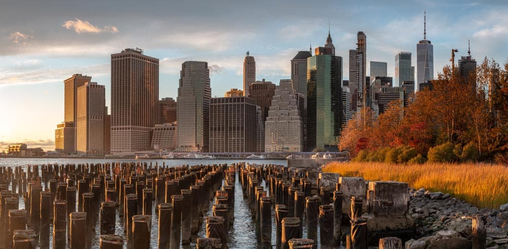 New York City Skyline at Sunset from Old Pier 1 in Brooklyn, New York