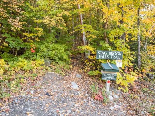 The trailhead for the Stag Brook Trail at Whiteface Mountain Resort