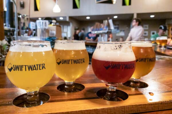 A flight of beers from Swiftwater Brewing in Rochester, NY