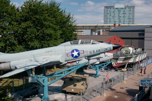 Military airplanes at the Buffalo Naval Park in Buffalo NY