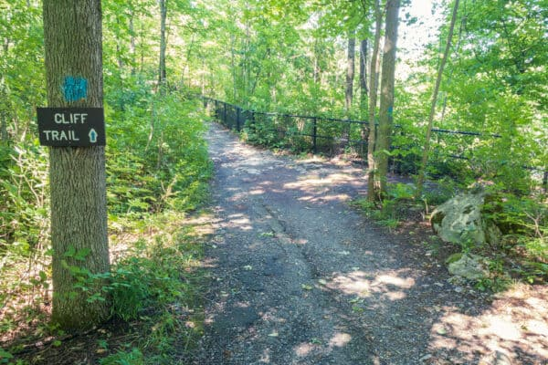 Trailhead for the Cliff Trail in Clark Reservation near Syracuse NY