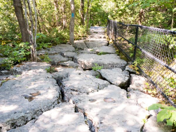 Table Rock on the Cliff Trail at Clark Reservation State Park in Onondaga County New York