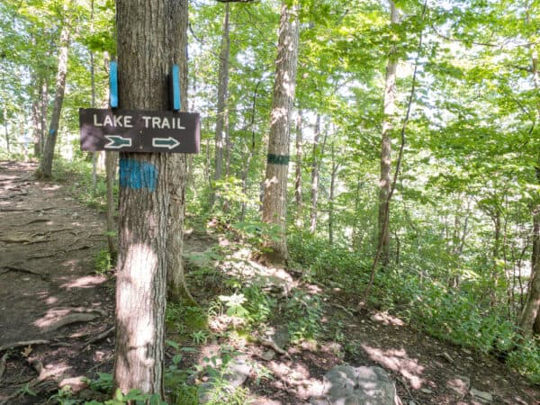 Trailhead for the Lake Trail in Clark Reservation in Syracuse NY