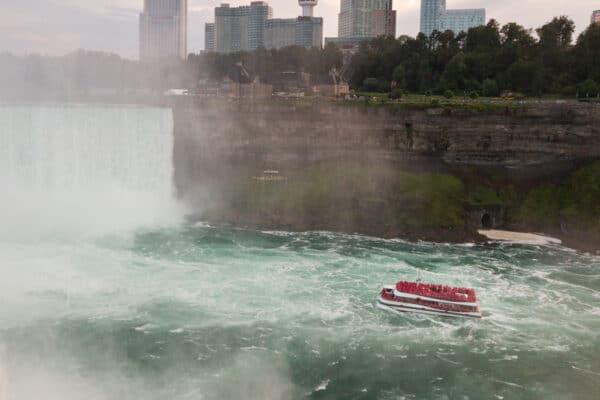 Maid of the Mist below Niagara Falls in New York