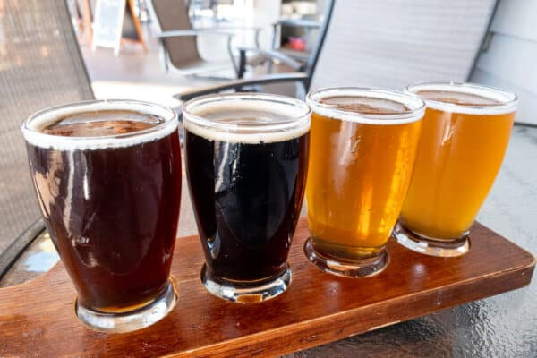 A flight of beers at Wood Boat Brewery in Clayton, New York