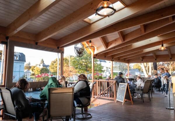 Outdoor seating at Wood Boat Brewery in Clayton NY
