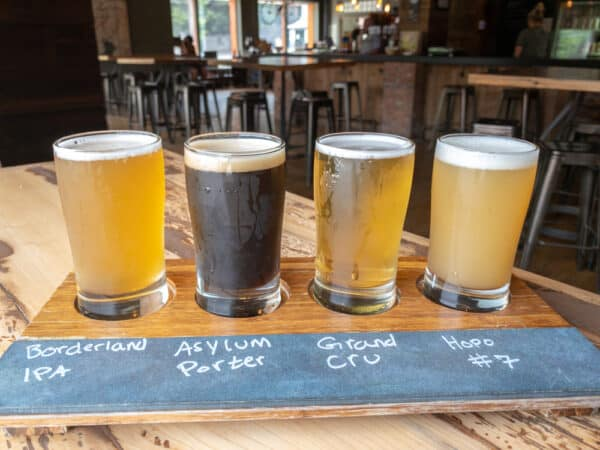 Flight of beers from 42 North Brewing in East Aurora NY