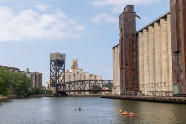 Grain silo along the Buffalo River in New York