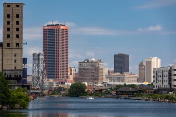 Skyline of Buffalo from the Buffalo River