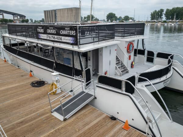 The boat used for the Buffalo River History Tours in Buffalo NY
