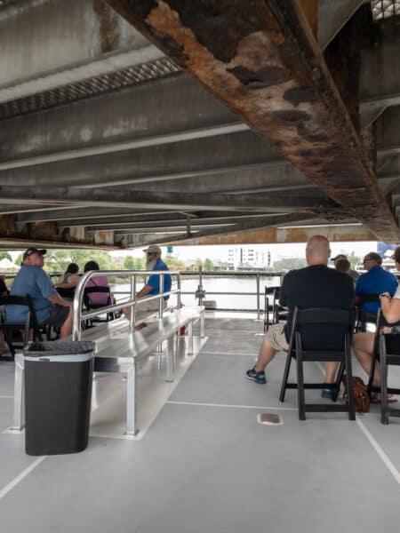 Buffalo River History Tour boat passing under the Ohio Street Bridge
