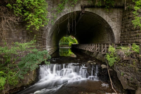 Waterfall in Corbett's Glen Nature Park in Rochester NY