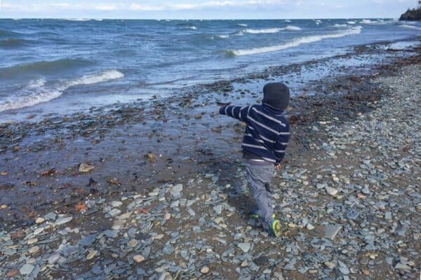 Child throwing a rock into the water at Evangola State Park near Buffalo NY