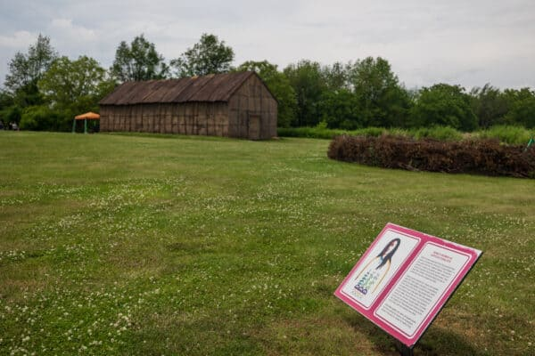 Historic sign at Ganondagan State Historic Site near Rochester New York
