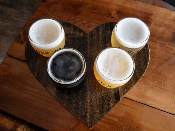Flight of beer from Heroes Brewing Company in Rochester NY