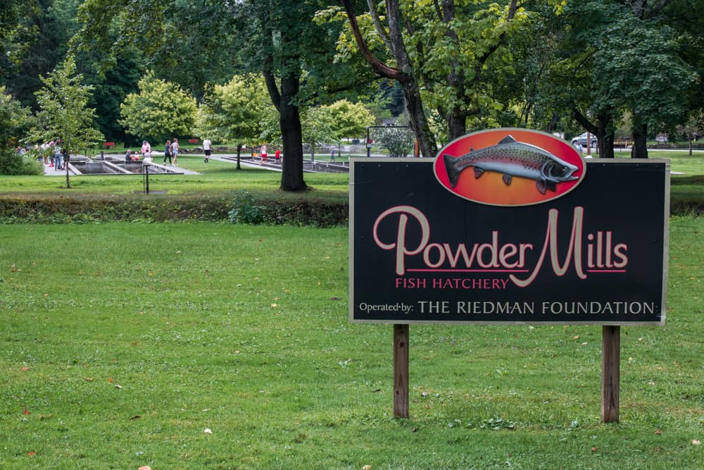 Sign at the entrance to Powder Mills Fish Hatchery in Rochester NY