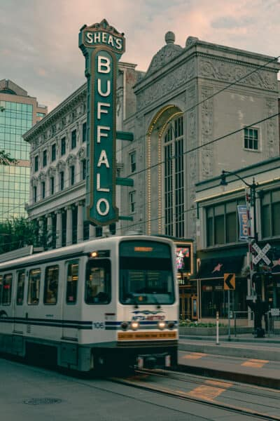 A Metro Rail Train passing through the Theatre District in Buffalo NY