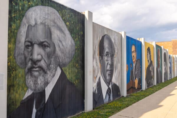 Paintings along the Freedom Wall in Buffalo New York