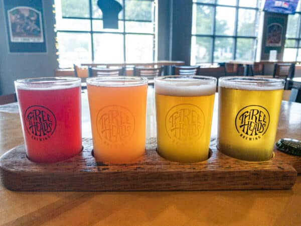 A flight of beers from Three Heads Brewing in Rochester New York