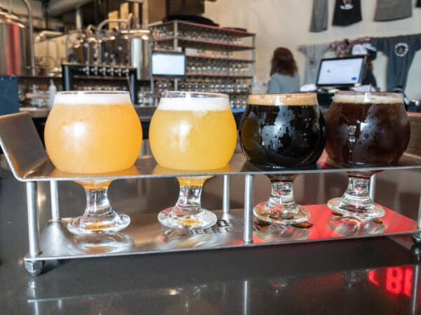 Flight of beers from Irondequoit Beer Company near Rochester NY