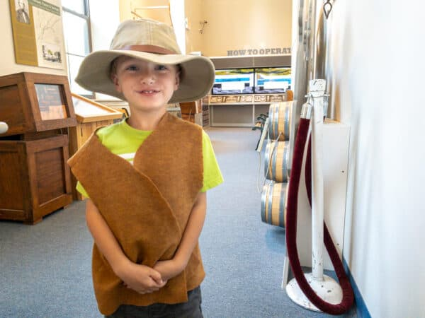 Boy in period clothing at the Erie Canal Discovery Center in Lockport NY
